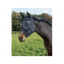 Maska proti hmyzu pro koně s ochrannou síťkou na uši nozdry, z PVC s třásněmi